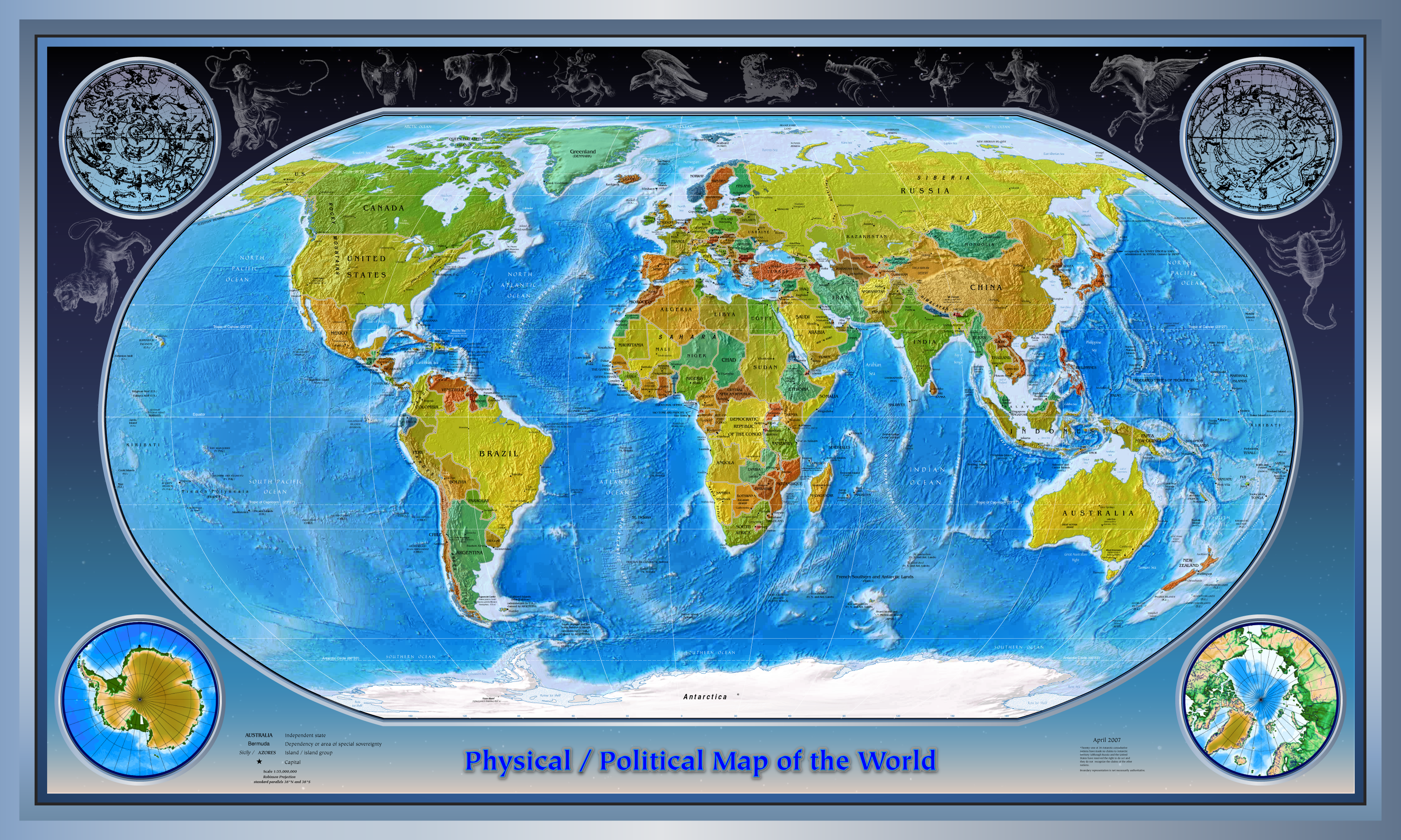 physical maps of the world geography